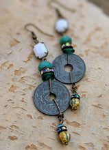 Load image into Gallery viewer, Vintage French Coin Assemblage Earrings