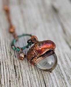 RESERVED Electroformed Lampworked Glass Acorn - Clear 1