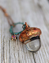 Load image into Gallery viewer, RESERVED Electroformed Lampworked Glass Acorn - Clear 2 - Minxes' Trinkets