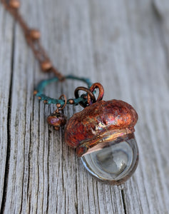 Electroformed Lampworked Glass Acorn - Clear 3