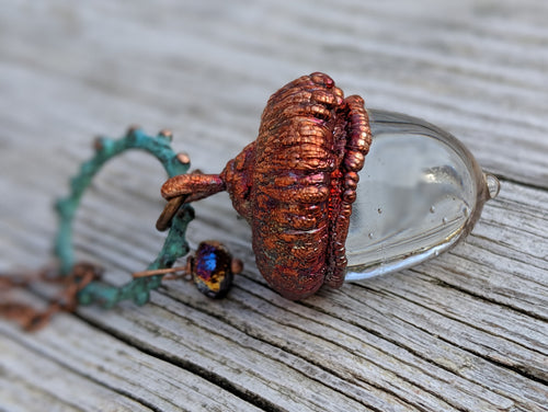 Electroformed Lampworked Glass Acorn - Clear 4