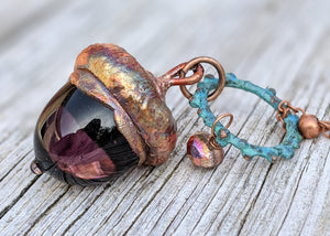 Electroformed Lampworked Glass Acorn - Purple 1 - Minxes' Trinkets