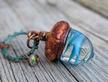Load image into Gallery viewer, Electroformed Lampworked Glass Acorn - Aqua Blue Swirl 1 - Minxes' Trinkets