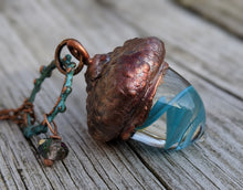 Load image into Gallery viewer, Electroformed Lampworked Glass Acorn - Aqua Blue Swirl 2 - Minxes' Trinkets