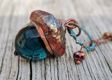 Load image into Gallery viewer, Electroformed Lampworked Glass Acorn - Deep Aqua Blue 1