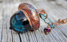Load image into Gallery viewer, Electroformed Lampworked Glass Acorn - Deep Aqua Blue 1 - Minxes' Trinkets