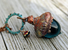 Load image into Gallery viewer, Electroformed Lampworked Glass Acorn - Deep Aqua Blue 2