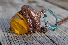 Load image into Gallery viewer, Electroformed Lampworked Glass Acorn - Yellow Swirl 2 - Minxes' Trinkets