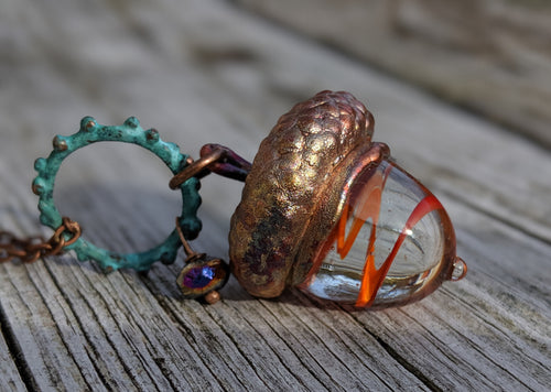 Electroformed Lampworked Glass Acorn - Orange Swirl 1 - Minxes' Trinkets