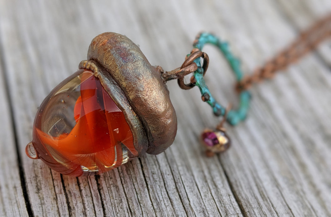 Electroformed Lampworked Glass Acorn - Orange Swirl 2 - Minxes' Trinkets