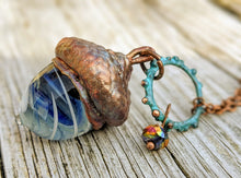 Load image into Gallery viewer, RESERVED Electroformed Lampworked Glass Acorn - Blue and White Swirl - Minxes' Trinkets