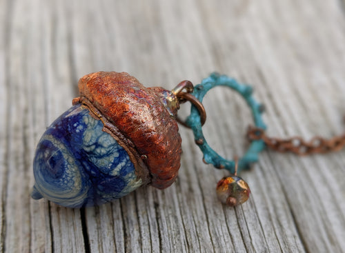 RESERVED FOR CHAUNDRA Electroformed Lampworked Glass Acorn - Opaque Blue and White Swirl - Minxes' Trinkets