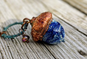 RESERVED FOR CHAUNDRA Electroformed Lampworked Glass Acorn - Opaque Blue and White Swirl