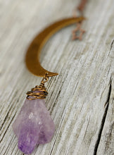 Load image into Gallery viewer, Simple Moon Long Necklace with Amethyst - Minxes' Trinkets