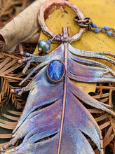 Load image into Gallery viewer, Real Copper Electroformed Feather - Kyanite - Minxes' Trinkets