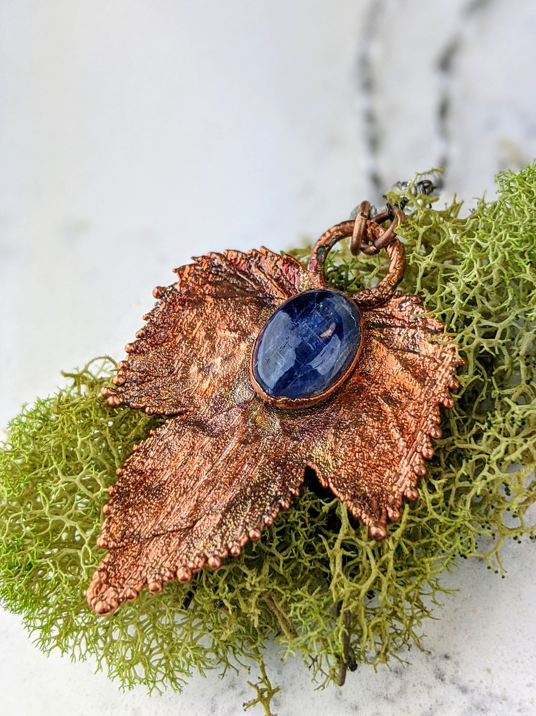 Electroformed Winter Hop Leaf Necklace with Blue Kyanite - Minxes' Trinkets