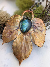 Load image into Gallery viewer, Electroformed Winter Hop Leaf with Labradorite - Minxes' Trinkets