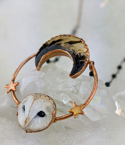 Electroformed Barn Owl Necklace with Fossilized Palm Root Moon - I - Minxes' Trinkets