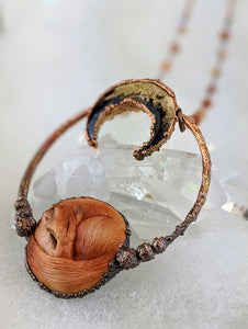 Electroformed Fox with Fossilized Palm Root Moon - Minxes' Trinkets