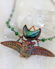 Load image into Gallery viewer, Electroformed Swooping Owl with Teal Green Labradorite Moon