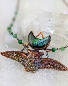 Electroformed Swooping Owl with Teal Green Labradorite Moon