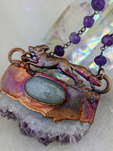 Load image into Gallery viewer, Electroformed Fox with Druzy Amethyst Slice and Grey Moonstone - Minxes' Trinkets