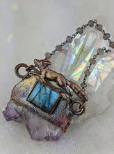 Load image into Gallery viewer, Electroformed Fox with Druzy Amethyst Slice and Labradorite - Minxes' Trinkets