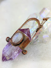 Load image into Gallery viewer, Electroformed Amethyst Point Icicle Necklace with Moonstone - Minxes' Trinkets