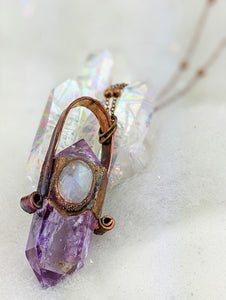 Electroformed Amethyst Point Icicle Necklace with Moonstone - Minxes' Trinkets