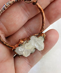 Electroformed Icy Quartz Cluster Necklace - I - Minxes' Trinkets