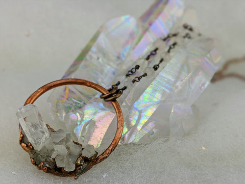 Electroformed Icy Quartz Cluster Necklace - II - Minxes' Trinkets
