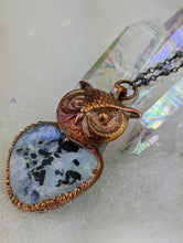 Load image into Gallery viewer, Electroformed Tourmalated Moonstone Owl - Minxes' Trinkets