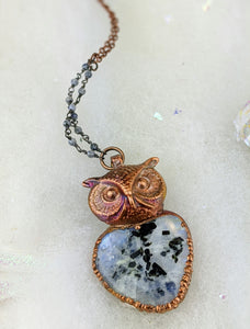 Electroformed Tourmalated Moonstone Owl - Minxes' Trinkets