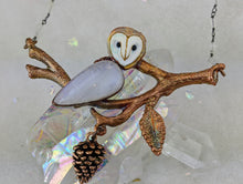 Load image into Gallery viewer, Electroformed Barn Owl on Winter Branch - Moonstone - Minxes' Trinkets