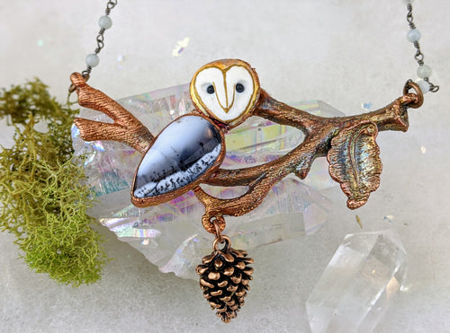 Electroformed Dendritic Opal Barn Owl on Winter Branch - Minxes' Trinkets