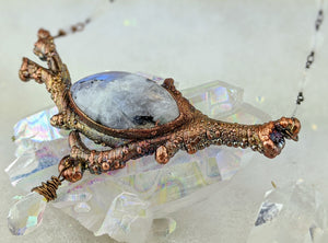 Electroformed Icy Winter Branch with Tourmalated Moonstone - Minxes' Trinkets