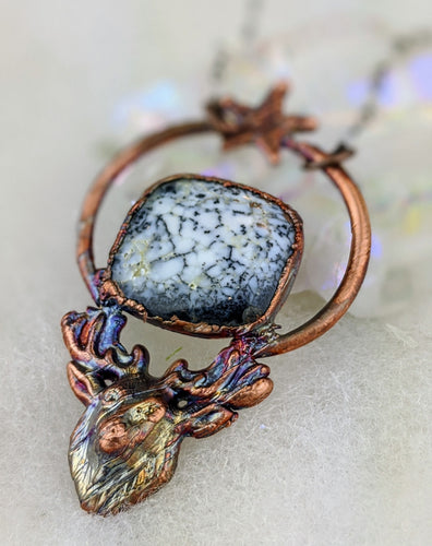 Electroformed Stag with Dendritic Opal Necklace - Minxes' Trinkets