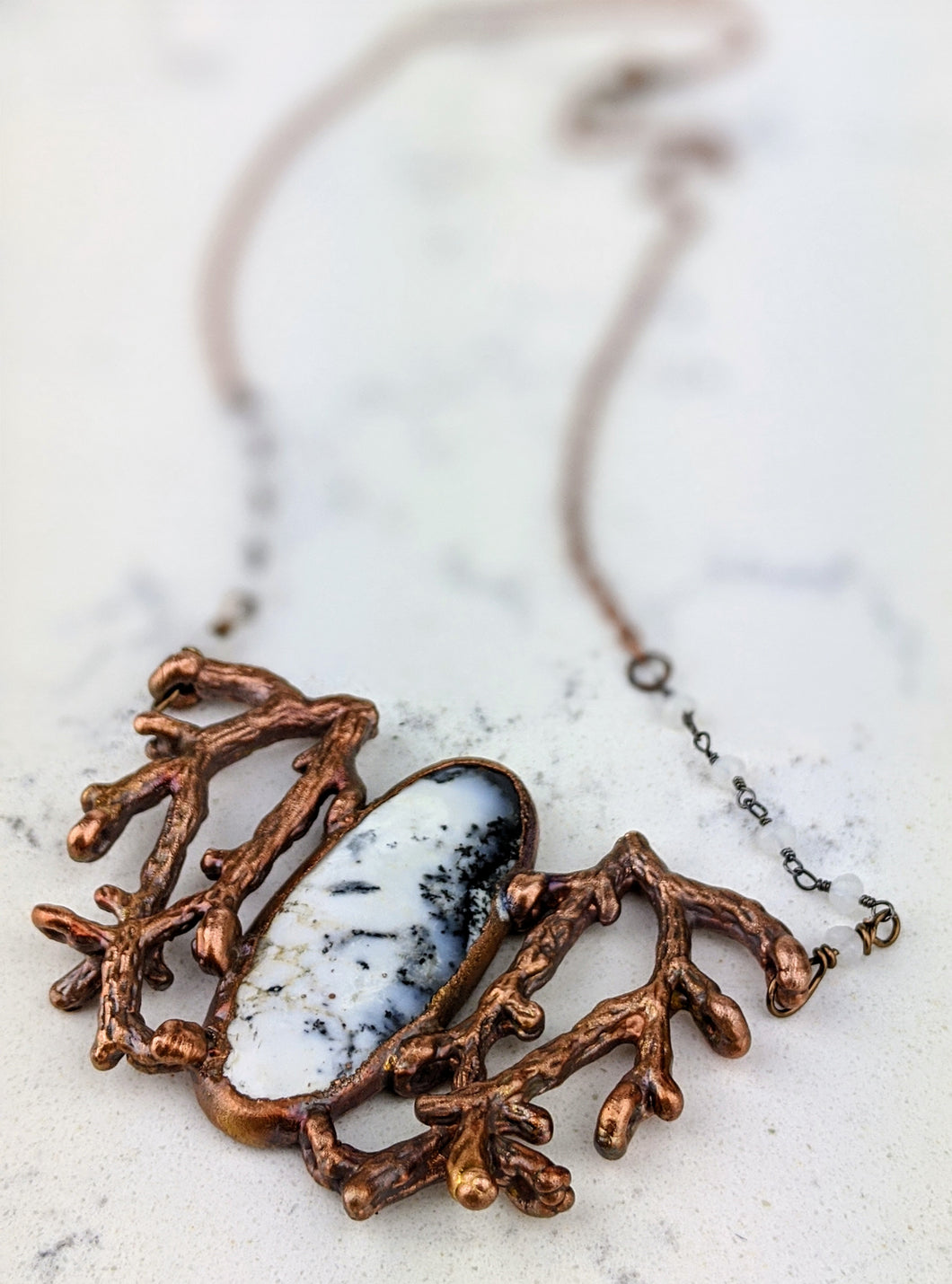 Electroformed Winter Branches with Dendritic Opal - 1 - Minxes' Trinkets