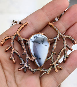 Electroformed Winter Branches with Dendritic Opal - 4 - Minxes' Trinkets