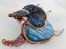 Load image into Gallery viewer, Electroformed Raven Head with Labradorite and Moons Necklace - Minxes' Trinkets