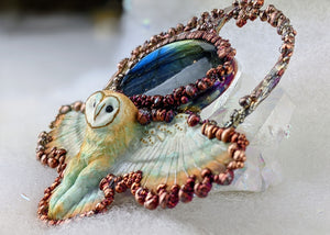 Electroformed Swooping Barn Owl with Labradorite - Minxes' Trinkets