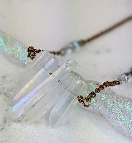 Electroformed Aura Quartz Icicle Necklace - Minxes' Trinkets