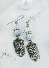 Load image into Gallery viewer, Pewter Winter Owl Earrings - Minxes' Trinkets