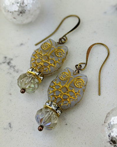 Owl Earrings - Winter White