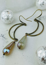 Load image into Gallery viewer, Open Moon Earrings with Iridescent Briolettes - Minxes' Trinkets