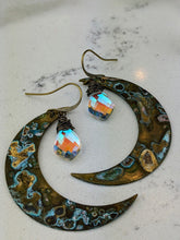 Load image into Gallery viewer, Verdigris Moon Earrings with Kite-shaped Mystic Quartz - Minxes' Trinkets