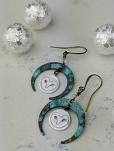 Load image into Gallery viewer, Winter Crescent Moon Earrings with Silver Owls - Minxes' Trinkets