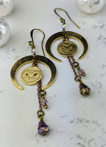 Winter Crescent Moon Earrings with Brass Owls and Dangles - Minxes' Trinkets