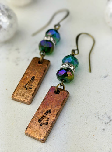 Stamped Copper Bar Pine Tree Earrings