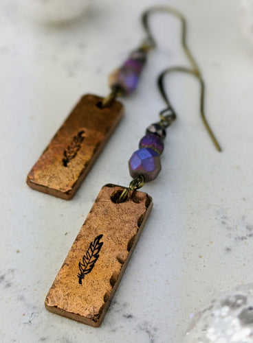 Stamped Copper Bar Feather Earrings II